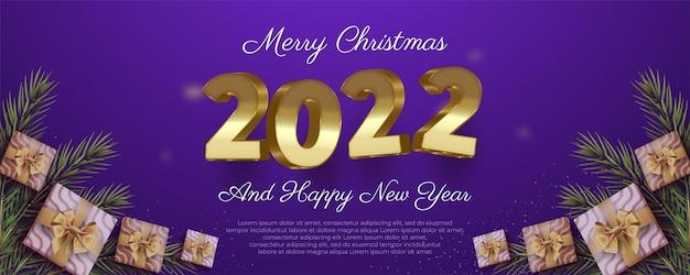 Frohe weihnachten und ein glückliches neues jahr banner im goldenen schwebenden nummer 3d-stil