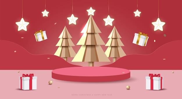 Frohe weihnachten und ein glückliches neues jahr-banner. minimale mock-up-szene mit studiopodium zur produktpräsentation. 3d-vektorbaumweihnachten, geschenkboxen und partyelemente.