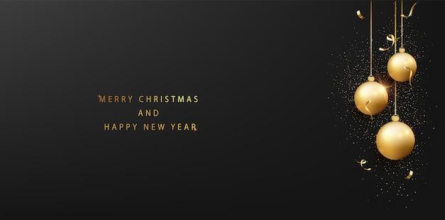 Frohe weihnachten und ein glückliches neues jahr-banner-vorlage. feiertagshintergrund