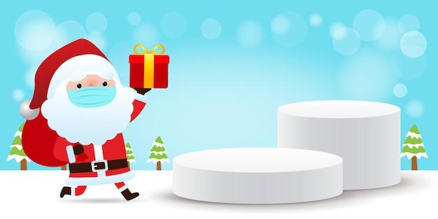 Frohe weihnachten und ein glückliches neues jahr bühnenpodest oder plattform