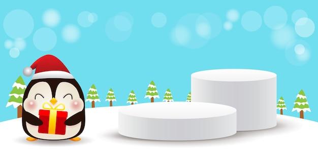 Frohe weihnachten und ein glückliches neues jahr bühnenpodest oder plattformgeometrie podiumsform