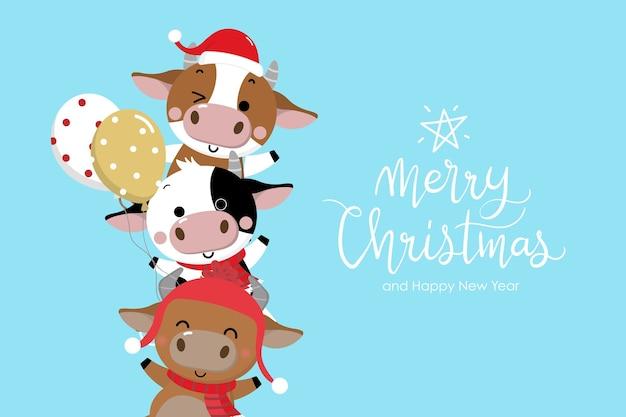 Frohe weihnachten und ein glückliches neues jahr . das jahr des ochsen.
