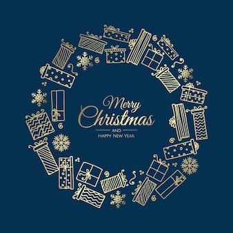 Frohe weihnachten und ein glückliches neues jahr. girlande der geschenke