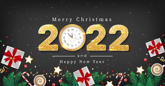 Frohe weihnachten und ein glückliches neues jahr gruß flyer winterelemente tannenzweige papier geschenkboxen