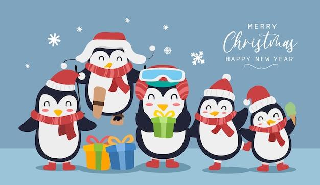 Frohe weihnachten und ein glückliches neues jahr grußkarte mit süßem pinguin vogel lustiges und fröhliches charakterdesign im flachen stil. vektor-illustration.