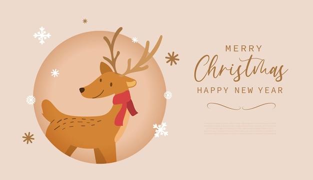 Frohe weihnachten und ein glückliches neues jahr-grußkarte mit süßem rentier-cartoon im modernen flachen stil. vektor-illustration.