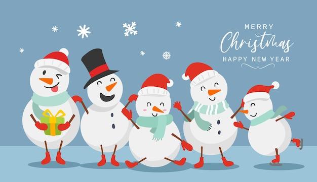 Frohe weihnachten und ein glückliches neues jahr grußkarte mit süßem schneemann lustiges und fröhliches charakterdesign im flachen stil. vektor-illustration.