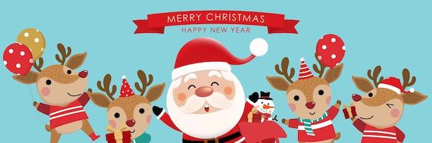 Frohe weihnachten und ein glückliches neues jahr grußkarte mit süßem weihnachtsmann-elf-schneemann und hirsch