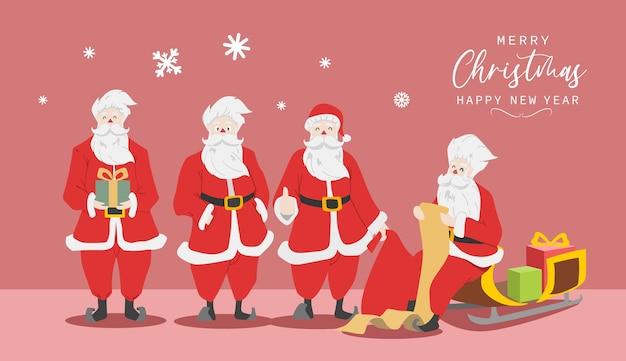 Frohe weihnachten und ein glückliches neues jahr grußkarte mit süßem weihnachtsmann lustiges und fröhliches charakterdesign im flachen stil. vektor-illustration.