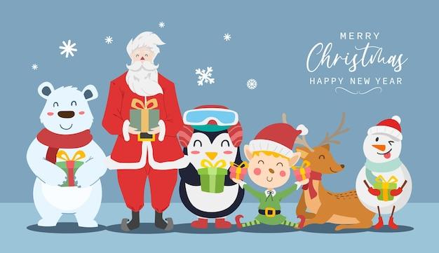Frohe weihnachten und ein glückliches neues jahr grußkarte mit süßem weihnachtsmann, rentier, eisbär, elfenjunge, schneemann und pinguinkarikatur. vektor-illustration.
