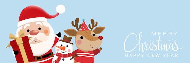 Frohe weihnachten und ein glückliches neues jahr grußkarte mit süßem weihnachtsmann-schneemann und hirsch