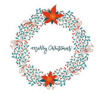 Frohe weihnachten und ein glückliches neues jahr. grußkarte mit weihnachtlichem blumenmistelkranz.
