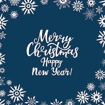 Frohe weihnachten und ein glückliches neues jahr handgezeichnete schriftzug grußkarte mit schneeflocke für den winter