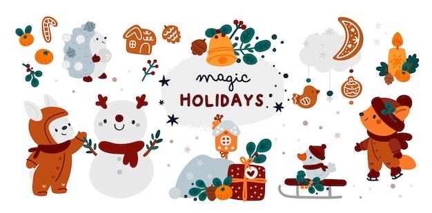 Frohe weihnachten und ein glückliches neues jahr! happy holiday sammlung mit cartoon-tieren, geschenken, schneemann