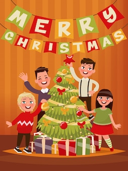 Frohe weihnachten und ein glückliches neues jahr. kinder schmücken den weihnachtsbaum. illustration