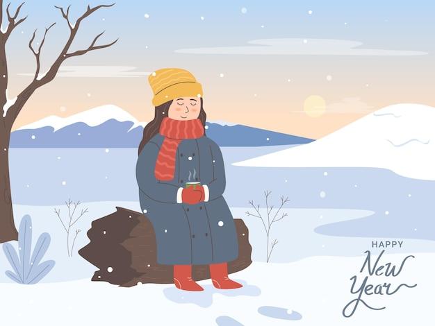 Frohe weihnachten und ein glückliches neues jahr mädchen sitzen beim teetrinken