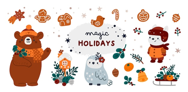Frohe weihnachten und ein glückliches neues jahr! meilenstein gesetzt für weihnachtskarte, plakat, partydekor, druck