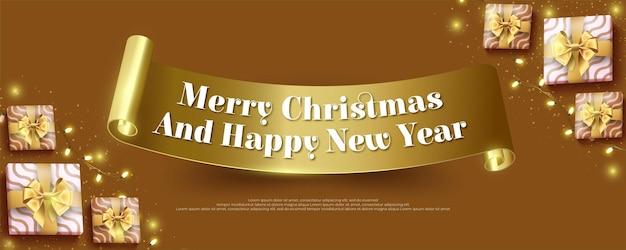 Frohe weihnachten und ein glückliches neues jahr mit goldband und weihnachtsdekorationselementen