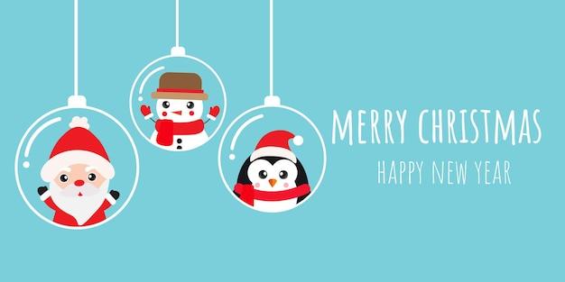 Frohe weihnachten und ein glückliches neues jahr mit süßem weihnachtsmann und freunden