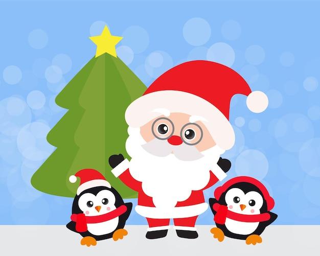 Frohe weihnachten und ein glückliches neues jahr mit süßem weihnachtsmann