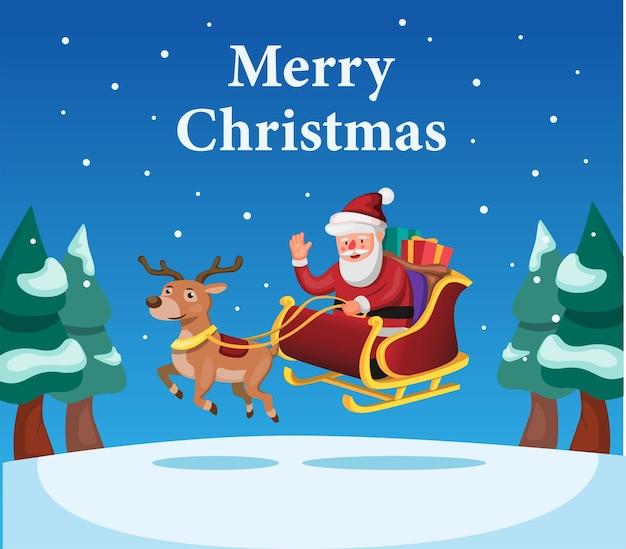 Frohe weihnachten und ein glückliches neues jahr mit weihnachtsmann und rentier mit geschenkbox-cartoon-vektor