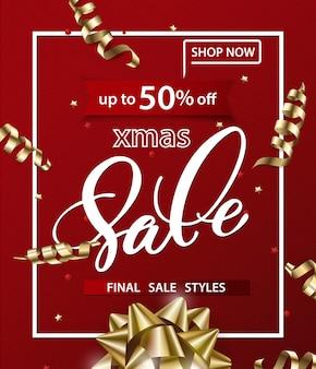Frohe weihnachten und ein glückliches neues jahr muster von verkaufsbannern mit dekorationen verkaufskonzept
