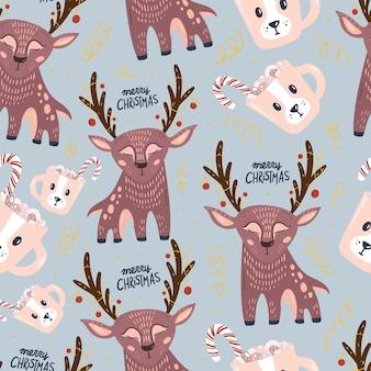 Frohe weihnachten und ein glückliches neues jahr nahtloses muster mit niedlichen elementen