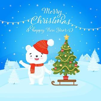 Frohe weihnachten und ein glückliches neues jahr. netter weißer teddybär mit schlitten und weihnachtsbaum auf dem hintergrund einer winterlandschaft.