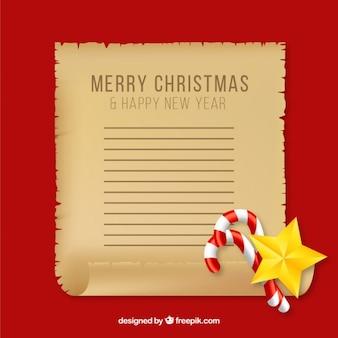 Frohe weihnachten und ein glückliches neues jahr pergament mit süßigkeiten