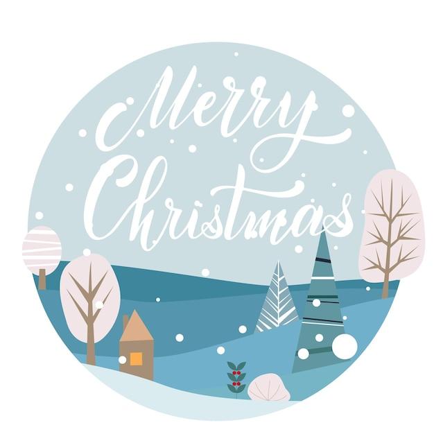 Frohe weihnachten und ein glückliches neues jahr-postkarte. handgezeichneter schriftzug. winterwald. elemente für grußkarten, poster, banner. t-shirt, notizbuch und stickerdesign