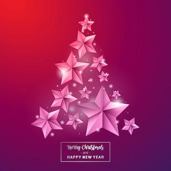 Frohe weihnachten und ein glückliches neues jahr. sternschmuck als kiefer