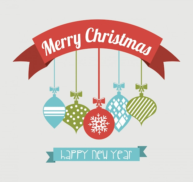 Frohe weihnachten und ein glückliches neues jahr über blauer hintergrundvektorillustration