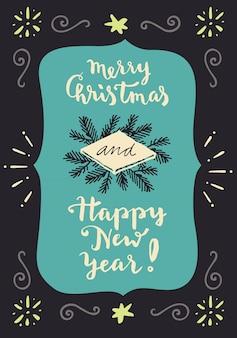 Frohe weihnachten und ein glückliches neues jahr. vintage hand schriftzug grußkarte