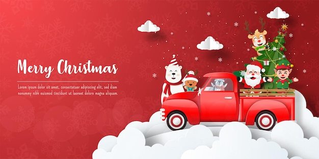 Frohe weihnachten und ein glückliches neues jahr, weihnachtsbanner-postkarte von santa claus und freunden mit rotem auto