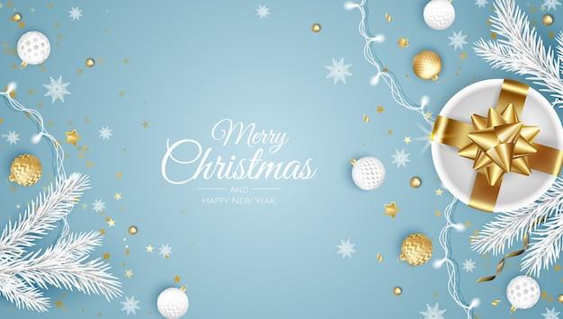 Frohe weihnachten und ein glückliches neues jahr. weihnachtshintergrund mit geschenk, schneeflocken, stern und kugeln. grußkarte, feiertagsbanner, webplakat