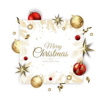 Frohe weihnachten und ein glückliches neues jahr. weihnachtshintergrund mit glänzenden goldenen schneeflocken. grußkarte, feiertagsbanner, webplakat.