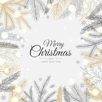 Frohe weihnachten und ein glückliches neues jahr. weihnachtshintergrund mit schneeflocken, stern und kugeln. grußkarte, feiertagsbanner, webplakat
