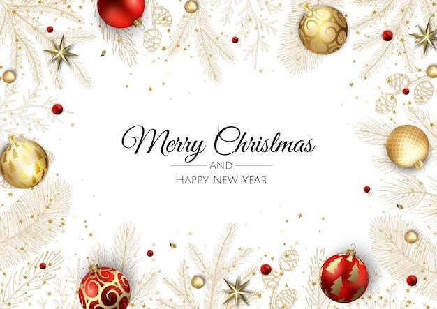 Frohe weihnachten und ein glückliches neues jahr. weihnachtshintergrund mit weihnachtsstern, schneeflocken, stern und kugeln design. grußkarte