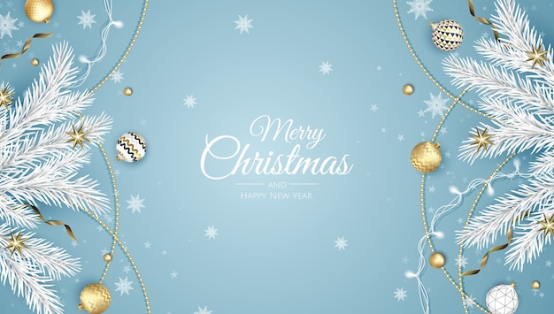 Frohe weihnachten und ein glückliches neues jahr. weihnachtshintergrund mit weihnachtsstern, schneeflocken, stern und kugeln. grußkarte, feiertagsbanner, webplakat