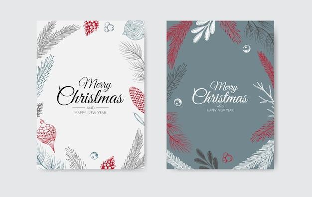 Frohe weihnachten und ein glückliches neues jahr. weihnachtshintergrund mit winterpflanzen. grußkarte, feiertagsbanner, webplakat