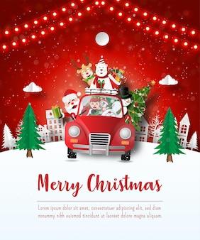 Frohe weihnachten und ein glückliches neues jahr, weihnachtspostkarte von santa claus und freund in einem roten auto im dorf, papierkunststil