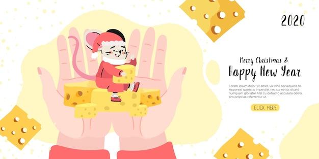 Frohe weihnachten und ein gutes neues jahr banner mit einer ratte.