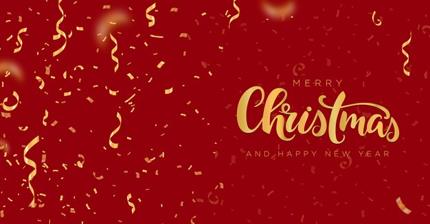 Frohe weihnachten und ein gutes neues jahr banner mit goldenen konfetti