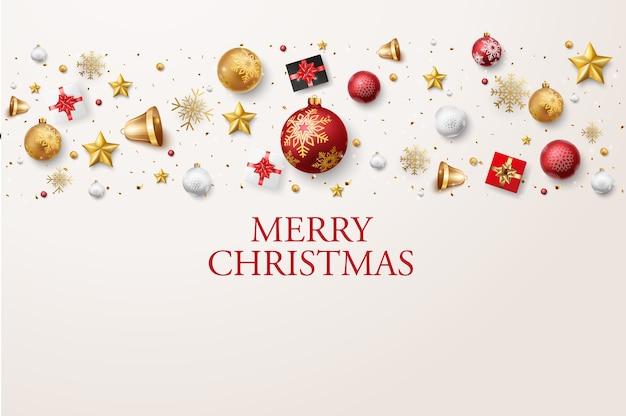 Frohe weihnachten und ein gutes neues jahr banner mit roten und goldenen kugeln und konfetti
