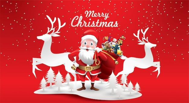 Frohe weihnachten und ein gutes neues jahr. das weihnachtsmanns ren mit einem sack