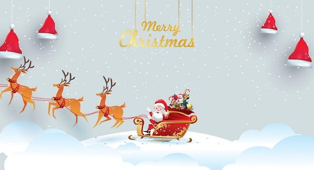 Frohe weihnachten und ein gutes neues jahr. der weihnachtsmann reitet mit einem sack den rentierschlitten