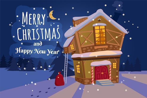 Frohe weihnachten und ein gutes neues jahr dorfhaus mit schneefall.