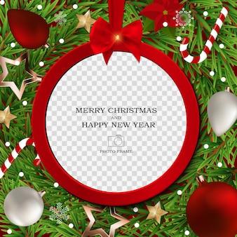 Frohe weihnachten und ein gutes neues jahr fotorahmen vorlage.