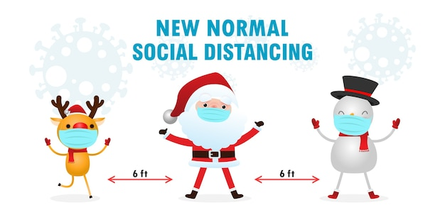 Frohe weihnachten und ein gutes neues jahr für eine neue normalität mit sozialer distanzierung
