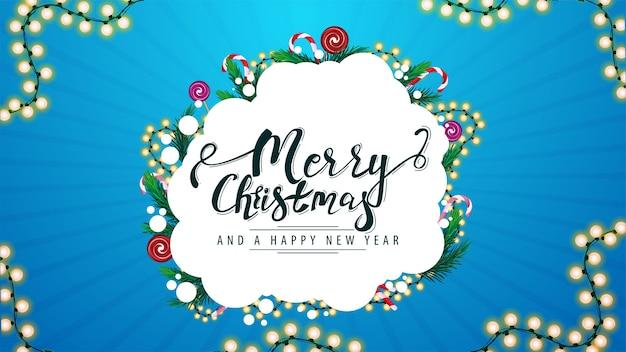 Frohe weihnachten und ein gutes neues jahr, grußkarte mit abstrakter form verziert mit weihnachtsbaumzweigen, süßigkeiten und girlanden